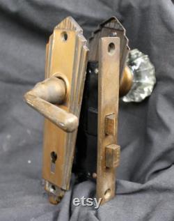 1.5 BACKSET Antique Vintage Old Salvaged Reclaimed Art Deco Door Bronze Steel Slim Lock Lockset Glass Knob Plate Lever Interior Exterior