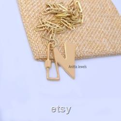 14K Gold Letter Lock, 14K Gold Letter Carabiner Lock, N letter carabiner screw lock, Solid Gold Letter Carabiner, Letter Carabiner Necklace