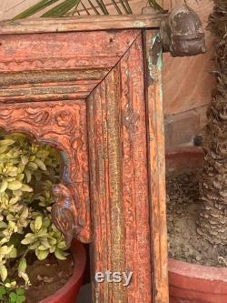 1700's Ancient Wood Carved Painted Horse Parrot Figure Old Castle 28 x 26'' Jharoka Arch Shape Window Frame Bikaner Haveli Frame Mirror