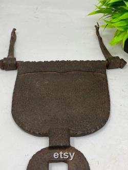 17th C Antique Solid Iron Heavy Weight Peacock Carving Castle Big Door Aldrop