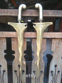 19.6 inches Set 2 pcs Vintage Old KERIS JAVA Dagger Weapon Entry Door Handle Hardware Cabinet Solid Brass Door Handle
