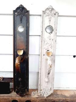 1920's Antique Door Plates with Handles Pair Hardware Vintage Lock Set 2 piece Corbin, Long 19 x 3 , Decorative Victorian