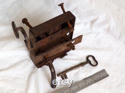 19th century Lot Antique Key and Lock Antique French Skeleton Key Farmhouse Chateau Primitive Vintage Skeleton Keys Old Rusty Iron 1850 Key