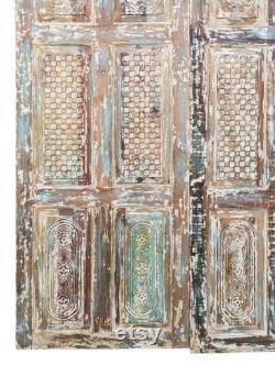 2 Rustic Carved Door, Farmhouse BARNDOOR, Holistic Carved Rustic Wall Panel, Old Reclaimed Wood Door 96