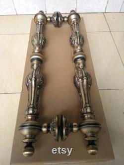 26 inches Pair 2pcs Set Vintage Carved Brass Door Handle Brass Dool Pull Big Door Pull