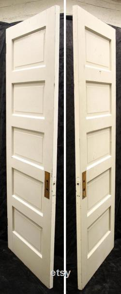 28 x80 Antique Vintage Old Interior Pantry Closet Bathroom Basement SOLID Wood Wooden Door 5 Raised Panels