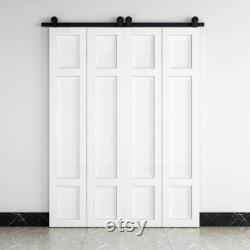 3-Panel Style Bi-fold Closet Door Interior White MDF Sliding Barn Door Slab Traditional