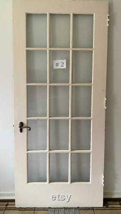 3 available 32 x80 Antique Vintage Old Reclaimed Salvaged Wood Wooden Interior French Door 15 True-Divided Windows Glass Lites Panes