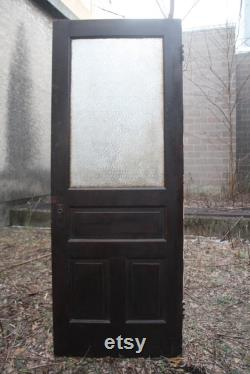 32 x84 Antique Vintage Salvaged Reclaimed Old SOLID Wood Wooden Swinging French Interior Door Window Beveled Glass Lite Pane