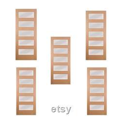 5pcs Modern Five Panel Glass Mahogany Doors