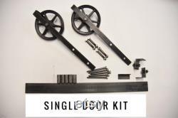 6 inch Steel Classic Wheel Rustic Single Door Sliding Barn Door Hardware Raw Steel Black Set Industrial Vintage Track Rail Barndoor Hardware