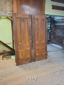 61x84 Pair Pocket Doors, Antique Oak Doors, Matching Pine Doors Four Panel Doors, Salvaged Doors, Rolling Door Pair, Set of Pocket Doors