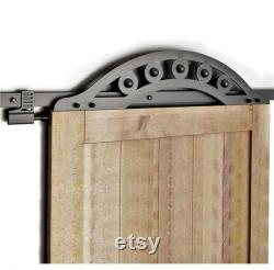 8 FT sliding Barn Door Track, One Piece wrought iron design, BLACK Sliding Barn Door Hardware Kit. Iron, Steel. UNIQUE (Door N0T included)