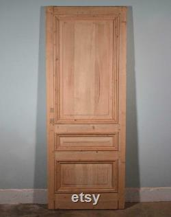 86 X 33 French Belgian Antique 3 Panel Stripped, Sanded Wood Door