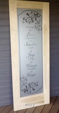A Recipe for Love Kitchen Pantry Door Handmade Solid Wood Frosted Glass Design