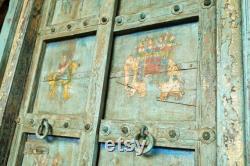 ANTIQUE Distressed BLUE Door Indian Haveli Doors Natural Wood Architectural Hand Carved Teak WOOD Rustic Farmhouse Doors