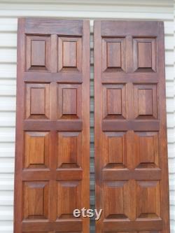 Antique Doors, Double Doors, Old Doors, Reclaimed 14 Square Raised Panel Spanish Interior French Double Bi-Fold Doors, 14 3 4 x 78 x 1