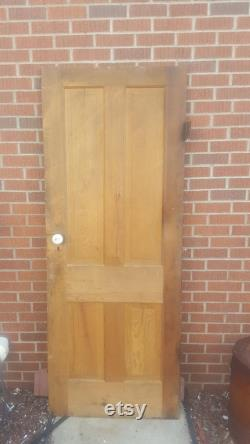 Antique Four Panel Solid Wood Door, Interior, Building Supply, Architectural Salvage, Farmhouse, Reclaimed, Replacement, 30 x 77 AK74