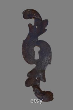 Antique French Large 18th Century Wrought Iron Escutcheon Door Keyhole Cover Regency Style Door