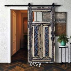 Antique Glass Barn Door, Solid wood Carved Double Single Sliding or Regular Farmhouse interior Doors, Distressed White Rustic Glass Door