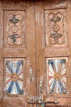 Antique Huge Door,Rustic Carved, Teak Indian Haveli Architecture Floor Double Doors With Frame Farmhouse Entry DOOR