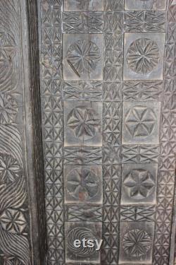 Antique Indian Tribal Black Door With Frame, OLD World Chakra Carved PRIMITIVE Yoga Decor, 18c Architecture Design
