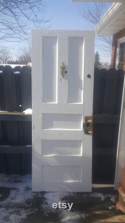 Antique Interior Industrial Wood Door, Recessed Five Panel Peep Hole Security Apartment Door, Architectural Salvage 29.5 x 77 1 4 R11