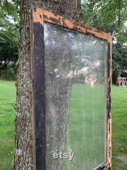 Antique Large Wavy Glass Wood Transom Window Cabinet Door, Renovation, Restoration, Architectural Salvage, Old House Window 24 x 74 DB20