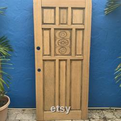Antique Oak Door 9 Panel includes 3 Rose Motifs