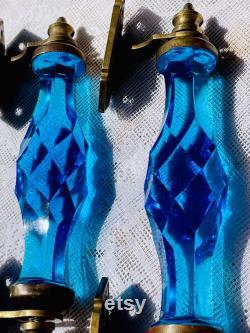 Antique Ornate Cobalt Blue Cut Crystal Brass Door Handles Arizona Castle Rare