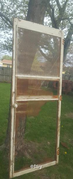 Antique Screen Door, Old, Wood Frame, Antique, Building Supply, Architectural Salvage, Exterior, Storm, Home Decor, Rustic 32 x 80 AH48