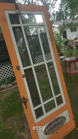 Antique Wood Exterior Door, Architectural Salvage, Farmhouse Doors, Pantry Door, 12 Pane Window Door, Building Supply, Industrial 32 x 80