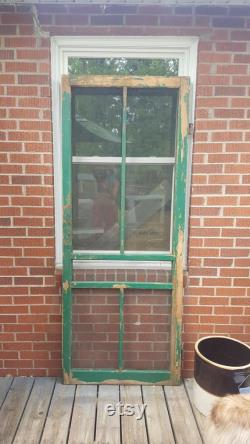 Antique Wood Frame Screen Door, Building Supply, Architectural Salvage, Farmhouse Country Victorian Exterior Door, Porch 32 X 80 1 4 AU6