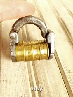 Antique combination padlock, Vintage padlock, Code padlock, Padlock from 1800s, Padlock, Collectible padlock, Handmade padlock, Iron padlock