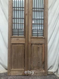 Antique panel doors with glass and iron C176 (variations )