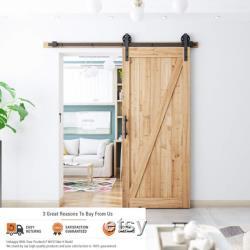 Barn Door Hardware Kit Sliding Roller for Single Closet Doors in Track Sizes from 5FT to 16FT