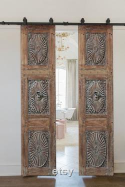 Carved Door, Antique Barn Doors, Custom Size Interior Sliding or Hinged Exterior Entry Front Door, Solid Wood Double or Single Rustic Doors