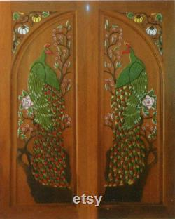 Carved teak interior exterior entry entrance front french double door with peacock and pumpkin.