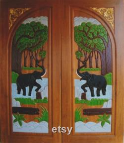 Carved teak interior exterior entry entrance front french double doors with elephants 3.