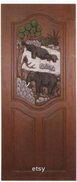 Carved teak wood interior exterior entry entrance front french door design with elephant in forest