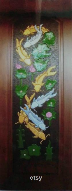Carved teak wood interior exterior entry entrance front french doors design with beautiful fish II