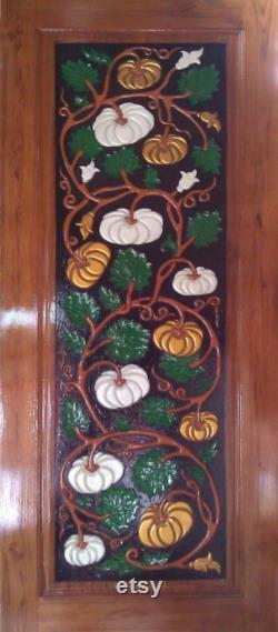 Carved teak wood interior exterior entry entrance front french doors design with pumpkin I detail.