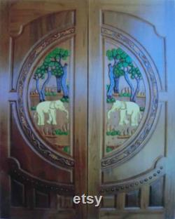 Carved teak wood interior exterior entry entrance front french double door with elephants I