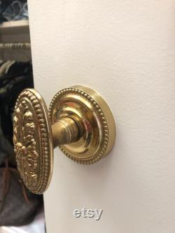 Classic Floral Oval Doubble Dummy Knobset Polished and Laquered Brass OMNIA Made in Italy Classic Italian Brass Door Knob for Hall Closets