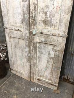 Curved Molding, Antique French Double Doors, Sliding Barn Doors, Tall Pair B5, European Doors, Pantry Doors, Old Wood Doors, Distressed