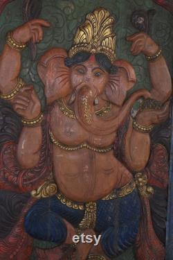 Custom Doors, Vintage Ganesha Barn Door, Hand Carved Wood Wall Panel, Wall Decor, Yoga Sculpture, Wall Art HOME Decor