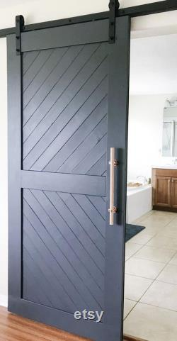 Custom Made High Quality Finish Farmhouse Chevron Sliding Barn Door Contemporary Barn Door Farmhouse Interior Doors ASK FOR SHIPPING
