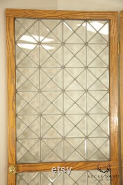 Custom Quality Pair Oak Frame Beveled Leaded Glass French Doors
