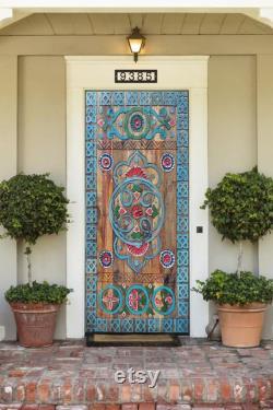 Custom Size Farmhouse Barn Door, Carved Entry Front Door, interior exterior Double or Single Sliding Doors, Antique Aztec Tribal Door