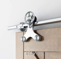 DIYHD 6.6FT Solid Hexagon Track Barn Door Hardware Rotatable Decoration Spoke Wheel Sliding Barn Door Hardware for Wood Door and Glass Door